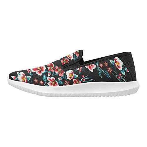 InterestPrint Embroidery Ethnic Flowers Neck Line Flower Womens Slip-On Loafer Shoes Canvas Fashion Sneakers Multi 1 EgXZveOvZY