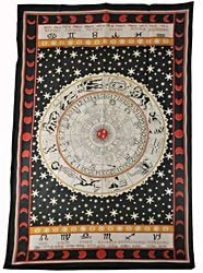Benji Tapestry 100 Cotton Many Novelty and Different Designs Available AZB6526JS Black White Zodiac, 52 X 76