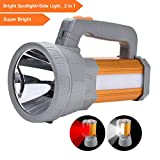 High Powered Super Bright Rechargeable LED Spotlight Flashlight High 6000 Lumens Handheld CREE Tactical Searchlight Large Battery 10000mAh Long Lasting, Bright Side Flood Work Light Camping Lantern