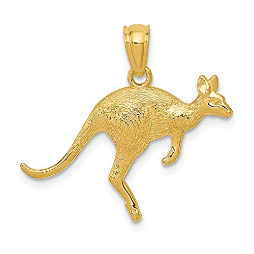 14k Yellow Gold Textured Kangaroo Pendant Charm Necklace Animal Man Fine Jewelry Gift For Dad Mens For Him ()