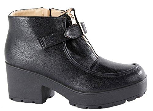 HEELED Style WINTER BOOTS SIZE MID ANKLE 3 Black PLATFORM CHELSEA BOOTIES K HIGH WOMENS HEEL 8 LADIES BLOCK SA4BYB