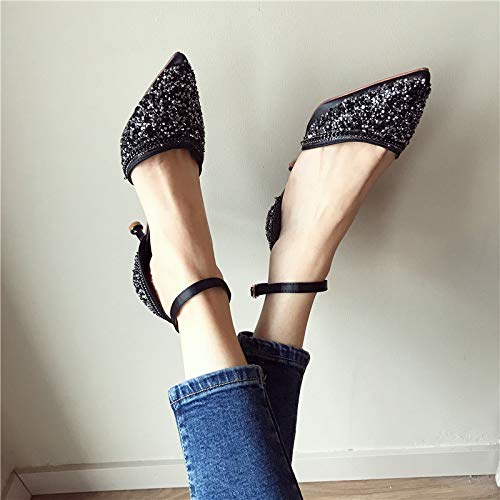 Shoes Drill Buckles Yards Fine Hollow Shoesthirty Working alti Single Black Heels Donna Seven Big Tacchi MLGSDW A54qxBnwq