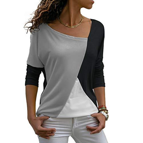 Sarin Mathews Womens Shirts Casual Tee Shirts Long Sleeve Patchwork Color Block Loose Fits Tunic Tops Blouses Black+Grey M