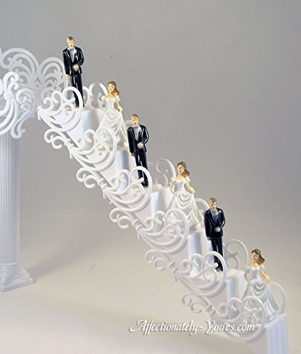 16 Piece Wedding Cake Decorative White Filigree Stair