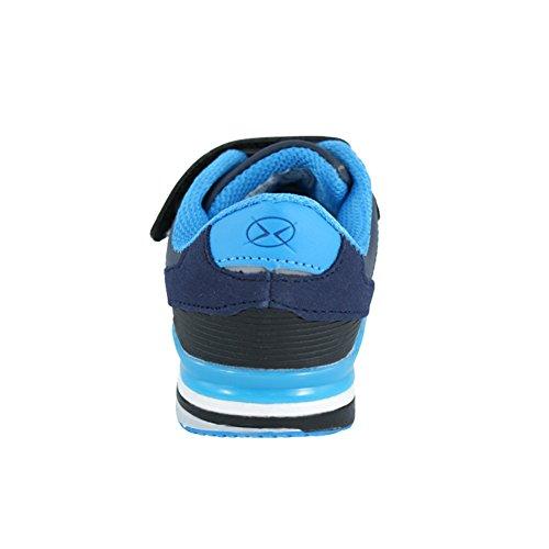 Hallenschuhe für Jungen Sneaker zur Schule mit Klettverschluss (1067) (27-17,5cm, Marineblau)