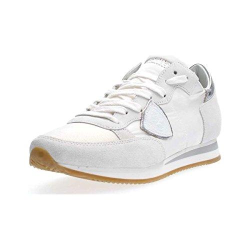 Tela 2018 Argento Sneaker Model 1120 Donna Modello in e TRLD e Pelle Philippe Colore Paris Tropez tallone Bianco zqTwHRR6
