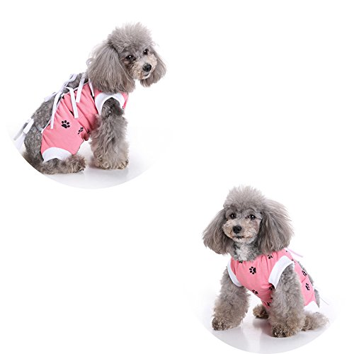 NEPPT After Surgery Wear Post Shirt Anxiety Dog Surgical Suit Wrap Body Pet Infection General Recovery Medical For Dogs(L, Pink) by NEPPT (Image #2)