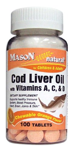 Mason Vitamins Cod Liver Oil With Vitamin A, C & D Orange Flavor Chewable Tablets, 100-Count Bottles (Pack of 4)