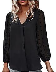 UEsent T-shirt dames lange mouwen chiffon vrijetijdshemd V-hals bovendeel sexy los eenkleurig bovendeel dames lente warm houden en vrije tijd