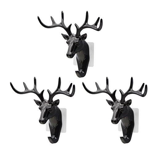 Saim Creative Plastic Hooks Wall Decor Deer Head Animal Self Clothing Jewelry Display Racks Non - Streaking Coat Cap Bag Keys Hanger Hook, Black, 3Pcs by Saim