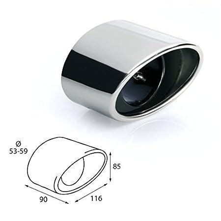 Akhan ER086 Edelstahl Auspuffendrohr Auspuffblende universal 90x116x85mm d=53-59mm
