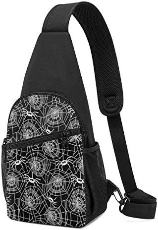 クモの網 斜め掛け ボディ肩掛け ショルダーバッグ ワンショルダーバッグ メンズ 多機能レジャーバックパック 軽量 大容量