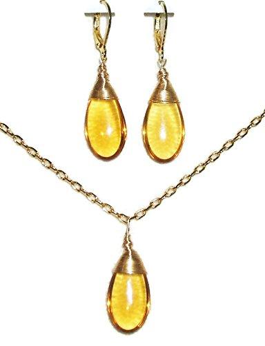 TOPAZ GLASS Wire Wrapped DROP NECKLACE EARRING SET Golden Amber Czech Preciosa GOLD Pltd