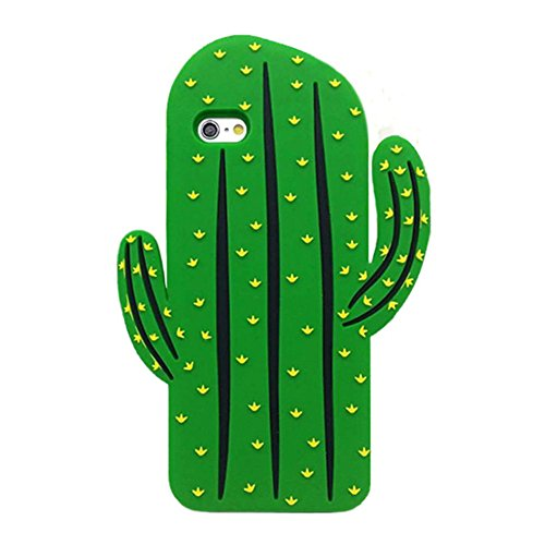 - GS Cute 3D Cactus Phone Case Soft TPU Silicone Protective Back Cover for iPhone 7