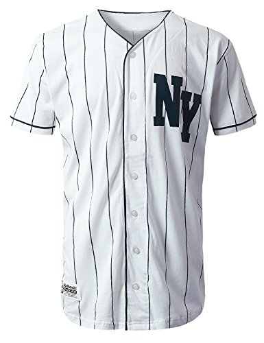 URBANCREWS Mens Hipster Hip Hop NY Striped Baseball Jersey T-Shirt White, M (La La Baseball Jersey)