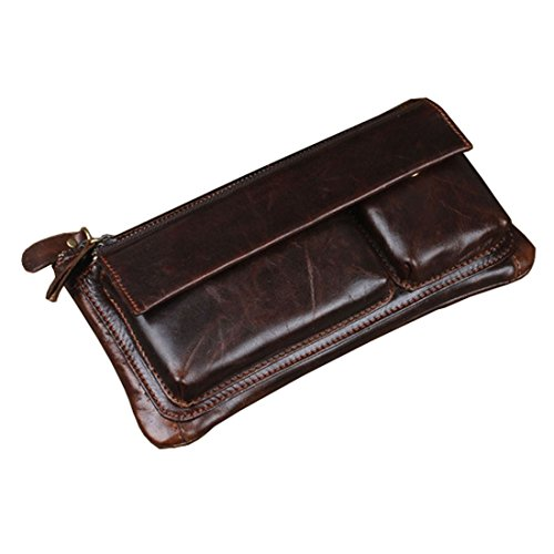 Men Genuine Leather Hip Bum Belt Pouch Fanny Pack Waist Clutch Bag Purse Coffee
