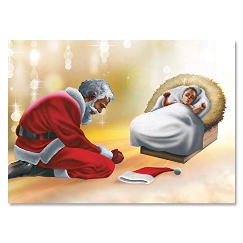 """Search : African American Expressions - Santa Bowing Boxed Christmas Cards (15 cards, 5"""" x 7"""") C-953"""