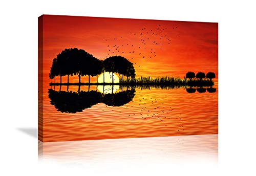 Urttiiyy Music Abstract Guitar Tree Lake Sunset Art Canvas Painting Living Room Decorating Painting Home Decor HD Printed Artwork Poster Framed Ready to Hang (36