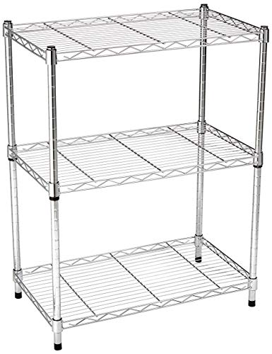AmazonBasics 3-Shelf Shelving Unit - Chrome (Renewed)
