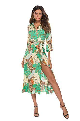 Women's Summer Work Dresses Sexy 3/4 Sleeve Lapel Stripped Cocktail Party Dresses with Belt Green X-Large
