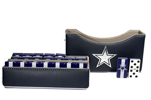 Dallas Cowboys Jumbo Domino Double Six, 5 Coats 100% Acrylic. Faux Leather Case by ARSEL