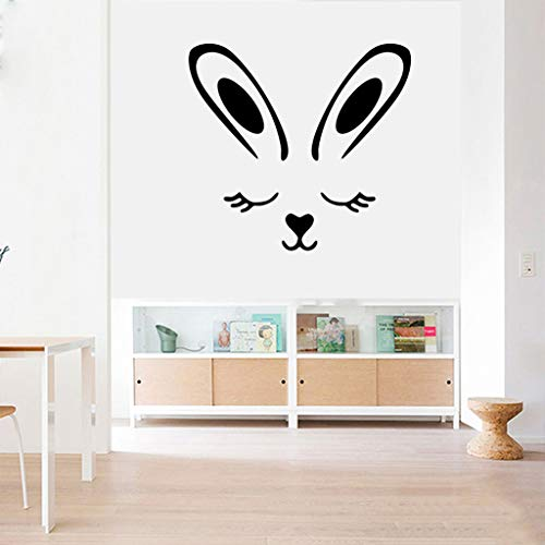 - HHmei Wall Decals Removable Peel and Stick PVC Wall Stickers Easter Bunny Art Murals Green Wall Stickers Rabbit Living Room Bedroom Decoration Stickers (Black_B)