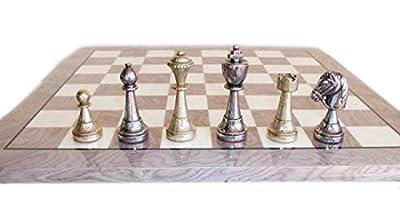 Staunton Metal on Grey Wood Chess Board