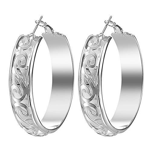 Gbell Clearance! Fashion Pattern Hoop Earrings Women Fine Dangle Clip On Earrings Ear Jewelry Charm for Girls Lady Party Date Ball Wearing (Silver)