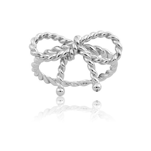 Sterling Silver Twisted Bow Ring (Size 8)