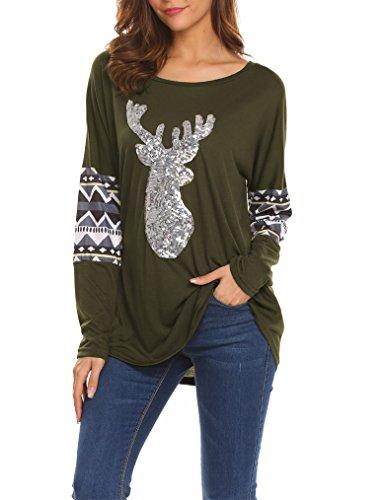 Women Christmas Loose Long Sleeve Front Sequin Deer Tops -
