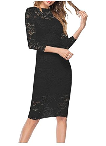 Sleeve Skinny Mini 4 Dress Out s Hollow Black Women Comfy Bodycon Lace 3 wqXRzvX