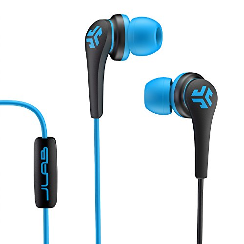 JLab Audio Core Hi-Fi Noise Isolating earbuds with Mic and Cush Fin Technology, Guaranteed Perfect Fit, GUARANTEED FOR LIFE - Blue/Black
