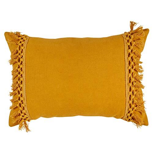 12 Inch Accent Pillow - Rivet Modern Macrame Fringe Lumbar Throw Pillow - 18 x 12 Inch, Mustard