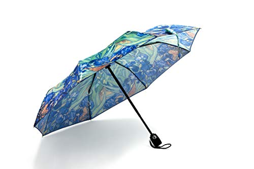 The Metropolitan Museum of Art Compact Travel Umbrella Sun&Rain Lightweight Totes Small and Compact Suit Windproof, Waterproof Auto Open/Close (blue) by M&G COLLECTION