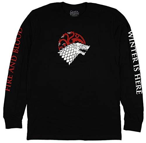 Fire Logo Shirt - Game of Thrones Shirt Men's Stark Targaryen Fire and Ice Long Sleeve T-Shirt (Medium) Black