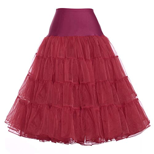 GRACE KARIN Women's Full Circle Bridal Petticoat Crinoline Hoopless Underskirt(Burgundy,M)