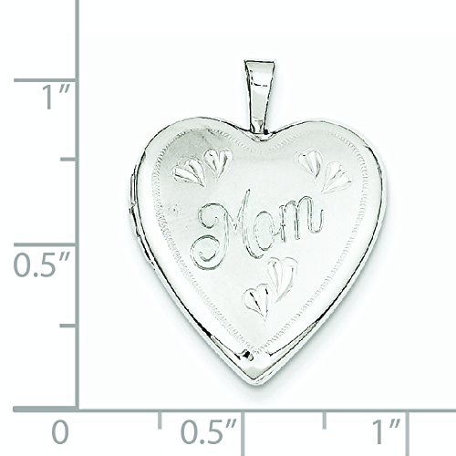 20 mm-Or blanc 14 carats Mom JewelryWeb Heart Locket-Coeur