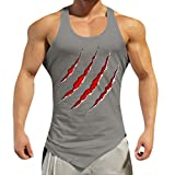 Men's Tank Top Shirt Training Quick-Dry Sports for Gym Fitness Bodybuilding Running Jogging (S, Gray)
