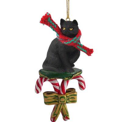 Black Cat Christmas Ornament - BLACK CAT Tabby Short hair CANDY CANE Christmas Ornament NEW CCC49