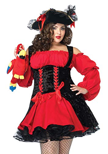 Women Pirate Halloween (Leg Avenue Women's Plus Size Vixen Pirate Wench with Velvet Double lace up Corset Dress, Red/black, 3X/)