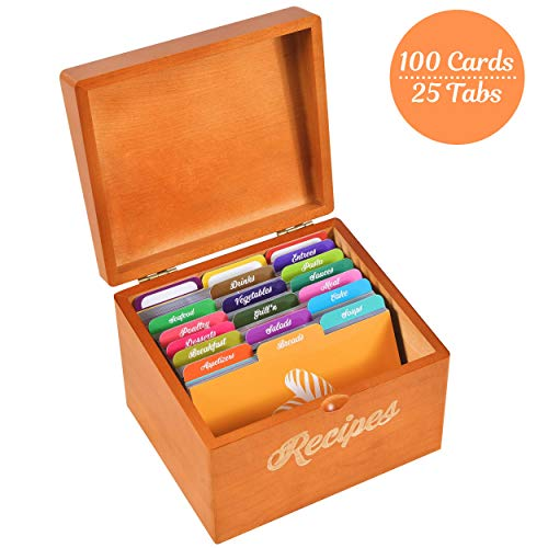 (Akshaya Maple Wood Recipe Box with 100 recipe cards 4x6 and 25 dividers | Perfect Kitchen Cooking gift set idea for Mom Women Grandma Bridal Shower and Weddings)