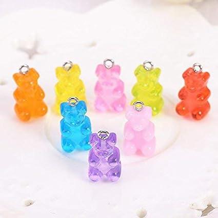 Glitter Candy Bear Star Lollipop Heart Resin Charms Earrings Necklace Pendants