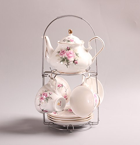 ufengkeHand-Painted Pink Flower Bone China English Tea Set Tea Service Coffee Cup