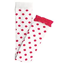 RuffleButts Little Girls White Footless Tights - Polka Dots & Ruffles