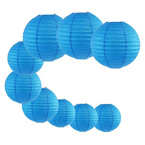 - LACGO 9pcs/Set Wedding Birthday Party Favor Chinese 8''10''12'' Round Paper Lanterns, Festival Carnival Celebration Activity Supplies, Perfect for Home Garden Patio Decor(Light Blue)