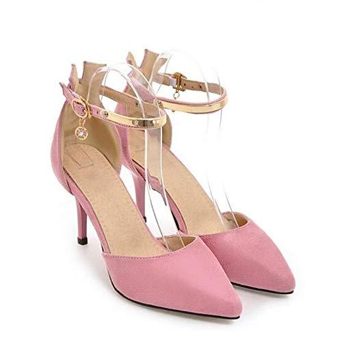 Tacón ZHZNVX Mujer Pink Aguja Suede Rosa Pump Summer Rojo Basic Zapatos de de Talones Negro frwxRq8f