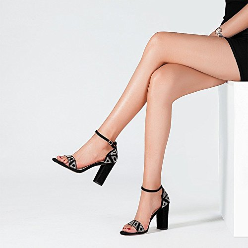 6 25cm Femeninas Jianxin Negro Sandalias 39 Abierta Tacón Negro Verano jp Punta Genuino Con Eu uk Tamaño Zapatos 8 us Cremallera Grueso Cuero color De Alto SFB5Fwrq