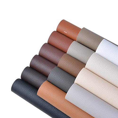 15 Pieces A4 Size Dark Color 1.2MM Thickness Litchi Grain Texture Synthetic Faux Leather Fabric Sheets Cotton Back for Making Hair Bows, Earrings, Placemats,15 Color Each Color One Sheet ()