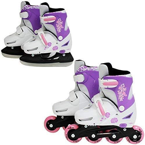 SK8ゾーンガールズピンク2in1ローラーブレードインラインスケートアジャスタブルサイズ子供子供プロコンボマルチアイススケートブーツ靴新(小9-12(27-30 EU))