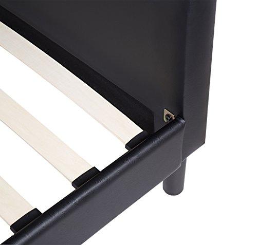 Olee Sleep 14 Inch Dura Metal Faux Leather Wood Slate Bed Frame Diamond Queen 14PB01Q